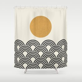 Sun & Wave - Oriental Pattern Shower Curtain