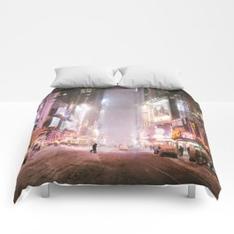New York City Colorful Snowy Night in Times Square Comforters