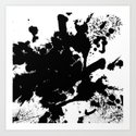 Black and white splat - Abstract, black paint splatter painting by printpix
