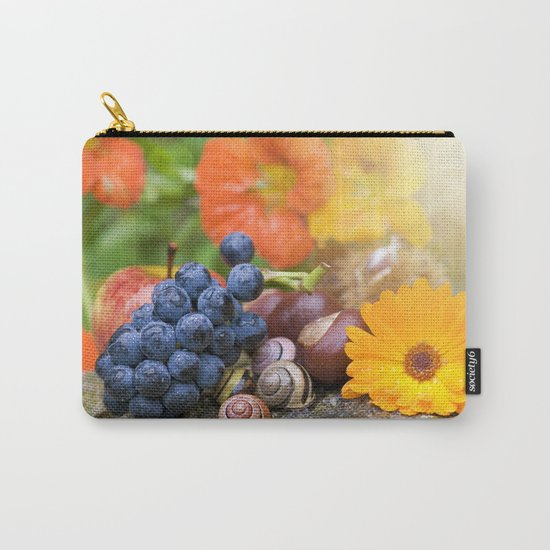Lovely Autumn Fruits and Flowers in warm Sunlight Carry-All Pouch