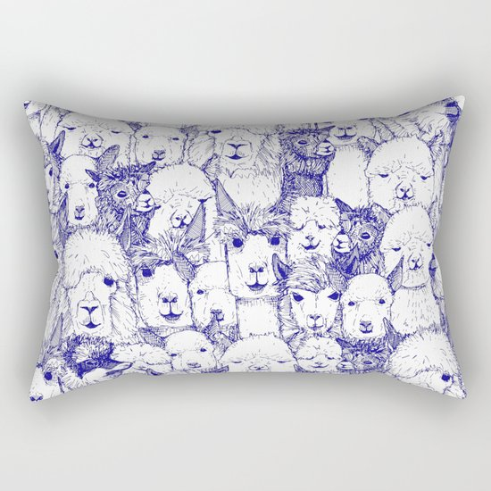 just alpacas blue white Rectangular Pillow