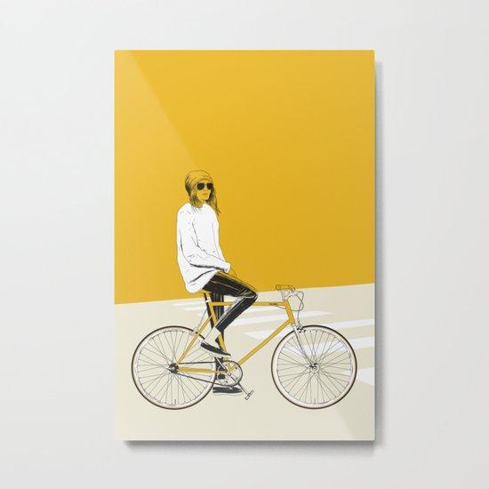 The Yellow Bike Metal Print