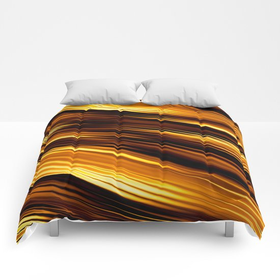 Abstract Orange And Black Waves Comforters