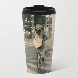 Girl on Bicycle Travel Mug