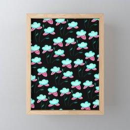 Bright Mint and Pink Flower Print Framed Mini Art Print