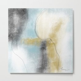 Abstract in Blue and Gold Metal Print