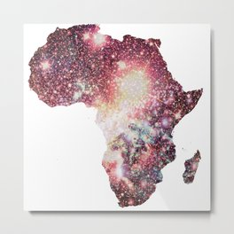 Pastel Sparkle Galaxy Africa Metal Print