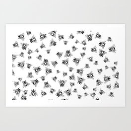 Tons of Bees Pattern Black and White Art Print