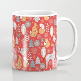 Scandinavian Christmas pattern on a red background. Deer, owls, foxes, trees and grass, snowflakes. Coffee Mug