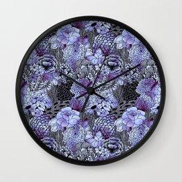 Indigo Bloom Wall Clock