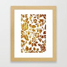 Gold flowers Framed Art Print