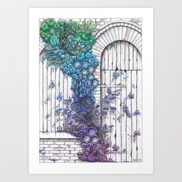Closed Window and Door with Purple, Blue and Green Nature Art Print