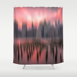 New city red Shower Curtain