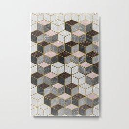 Marble Cubes Metal Print