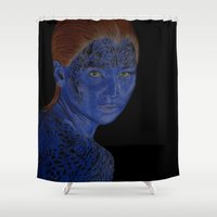 x men Shower Curtains featuring Mystique X-Men by LisaBCreations