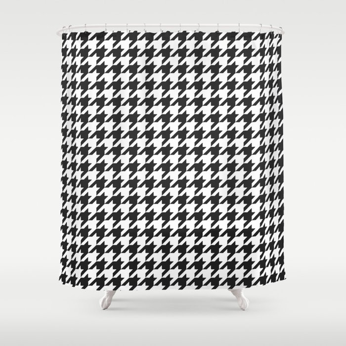 Black And White Houndstooth Pattern Shower Curtain