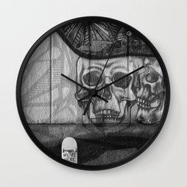 Skulls and Skating (Black and White) Wall Clock