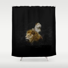 Pride - Lioness and Lion Couple Goals Shower Curtain