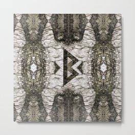 Berkana Celtic Rune on Birch Bark Metal Print