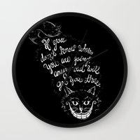 cheshire cat Wall Clocks featuring Cheshire Cat by Kellabell9