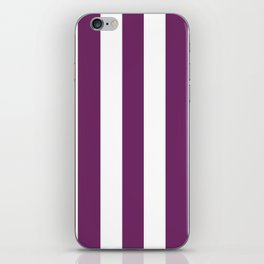 Byzantium violet - solid color - white vertical lines pattern iPhone Skin