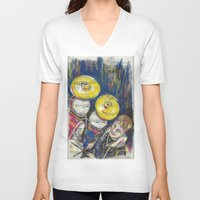 drum V-neck T-shirts featuring Drum 1 by Ed Rucker