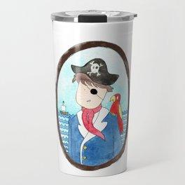 Captain and his parrot   watercolor portrait Travel Mug