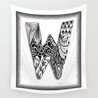 waldo Wall Tapestries featuring Zentangle W Monogram Alphabet Illustration by Vermont Greetings