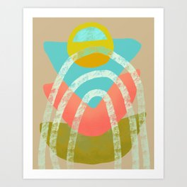 Shapes and Layers no.21 - Triangle, circle, arches Art Print