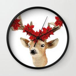 Deer with Christmas Flowers Wall Clock