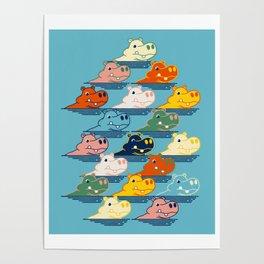Happy Hippo Family Poster