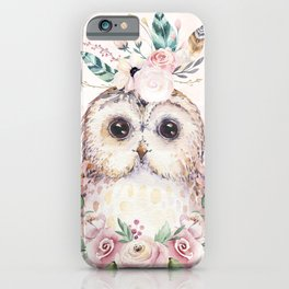 Forest Owl Floral Pink by Nature Magick iPhone Case