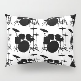 Drumset Pattern (Black on White) Pillow Sham