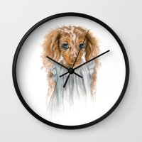 puppy Wall Clocks featuring Puppy by Leslie Evans