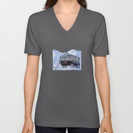 Ski Snowboard Chair Lift in Mountains Unisex V-Neck
