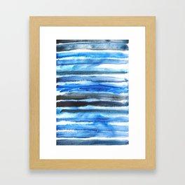 blue brush stroke Framed Art Print