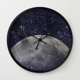 Colorful Mystic Galaxy Constellation Moon Stars and Cosmic Space Wall Clock