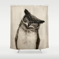 paper Shower Curtains featuring Owl Sketch by Isaiah K. Stephens