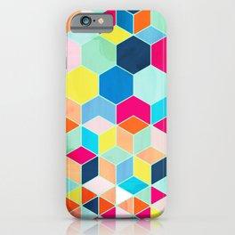 Super Bright Color Fun Hexagon Pattern iPhone Case