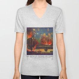 NEW YORK FIREWORKS city old map Father Day art print poster Unisex V-Neck
