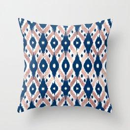 Artsy Modern Rose Gold Navy Blue Ikat Geo Throw Pillow