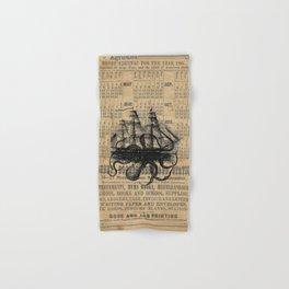 Octopus Kraken attacking Ship Antique Almanac Paper Hand & Bath Towel