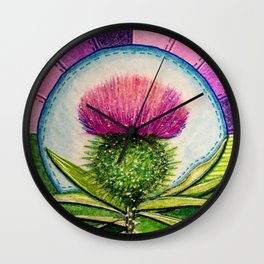 Scottish Thistle Wall Clock