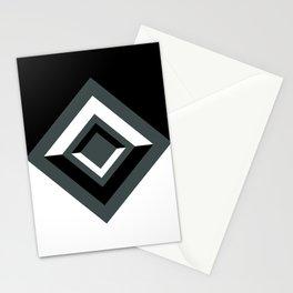 PPG Night Watch, Black and White Geometric Shapes, Diamond Minimal Illustration Stationery Cards