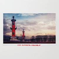 postcard Area & Throw Rugs featuring Postcard from St.Petersburg by Armine Nersisian