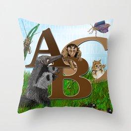 ABC nursery animal print, by Barbara Kilgore green, brown, blue Throw Pillow
