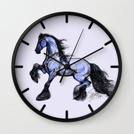 Friesian Mare Prancing Wall Clock