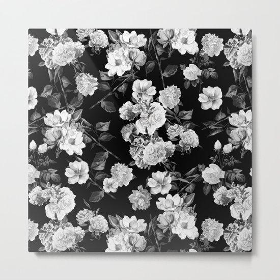 Black and White Botanic Pattern Metal Print