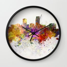 Omaha skyline in watercolor background Wall Clock