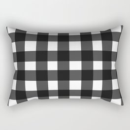 Black Gingham Rectangular Pillow